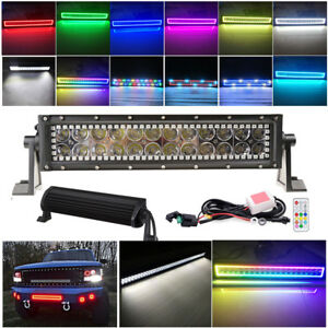 14 72w Led Light Bar Combo W Rgb Halo Color Changing Chasing 13 5 Atv Suv Ute