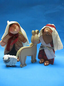 Primitive Nativity Wooden Dolls Hand Crafted Christmas