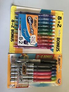 Lot Of Bic Quick Dry Gel Pens Multicolor 10 Count And Bic Mark it Perm Markers
