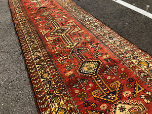 3x11 Persian Runner Rug Caucasian Wool Hand Knotted Antique Rugs Heriz Rust 3x12