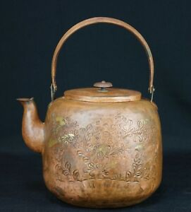 Antique Bronze Yakan Floral Kettle Hand Made Japan Craft 1900s Ceremony Japanese