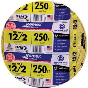 250 Roll 12 2 Awg Nmb Gauge Indoor Electrical Copper Wire Yellow Romex 20 Amp
