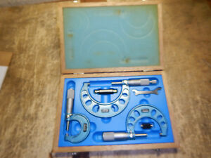 Fowler Made In Japan Micrometer Set W Case Standards Wrench Machinist Tooling