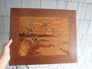 Vintage Marquetry Inlaid Wood Hanging Wall Plaque Ducks Or Mallards