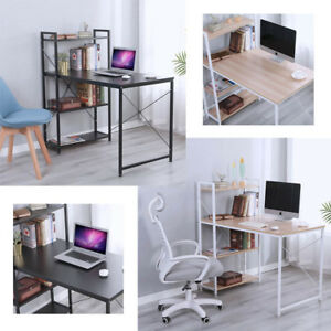 Computer Desk 4 Tier Bookshelves Study Table Writing Workstation Office Modern