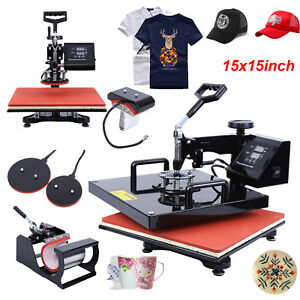 15 x15 5in1 Heat Press Transfer Machine Sublimation Swing Away T shirt Hat Cup