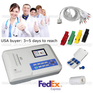 Us Seller 3 Channel 12 Lead Ecg Ekg Machine 3 5 tft Color Lcd Display printer