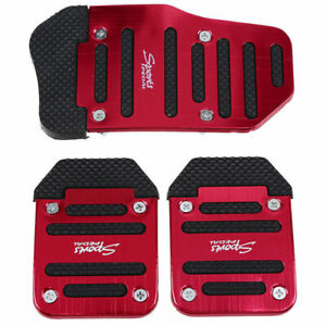 3x Red Universal Car Pedals Cover Kit Pad Foot Brake Gas Pedals Manual Model