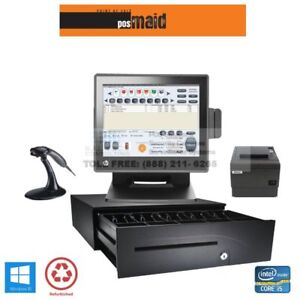 Retail Pos System With Maid Software Complete Windows 10 8gb I5 Cpu Hp Pos