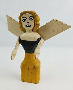 Vintage Folk Art Wooden Carved Angel Woman Winged W Moving Arms Yellow Black