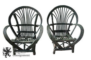 Handmade Twig Branch Bentwood Adirondack Willow Arm Chairs Fan Back Cabin
