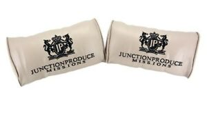 Junction Produce Beige Leather Car Seat Neck Cushion Pillow Headrests X2
