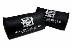 Junction Produce Black Leather Car Seat Neck Cushion Pillow Headrests X2