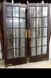 Antique Vintage French Swinging Beveled Glass Doors