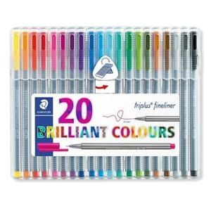 Staedtler Triplus Fineliner Pens 3mm Metal Clad Tip 20 pack Assorted
