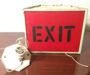 Vintage Antique Handmade Metal Exit Sign Light Movie Theater Pull Switch Wall