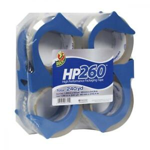 Duck Hp260 Packing Tape 4 Rolls With Dispensers 1 88 Inch X 60 Yard Clear