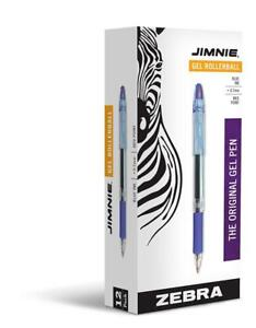 Zebra Pen Jimnie Roller Ball Stick Gel Pen Blue Ink Medium Point 0 7mm