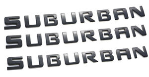3x Suburban Letter Emblems Abs Badge Replacement For Suburban Chevrolet Black