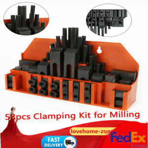 58pcs Clamping T slot Step Block For Metal Milling drilling M12 14mm Nuts Kit Us