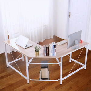 L shaped Corner Desk Computer Office Table Pc Laptop Home Study Wood Workstation