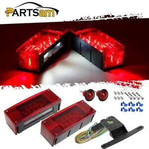 Red Led Trailer Boat Light Kit rectangle Stop Turn Tail 3 4 Side Marker harness