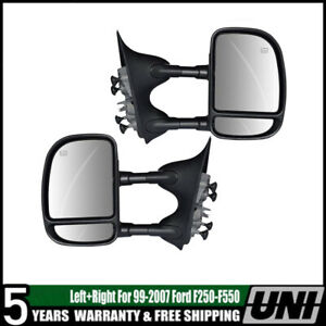 For 07 14 Ford F150 Power Heated Yellow Signal Puddle Lamp Towing Mirrors Pair