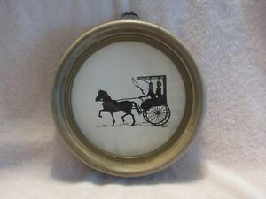 Vintage Black White Horse Buggy Picture In Round Wood Frame
