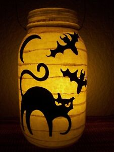 Primitive Cat N Bats Lantern Candle Halloween Candle Jar Wedding Porch Gift