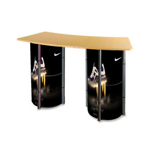 3 Rings Portable Counter Display With Columns Banner black Color Stand Only