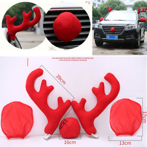 5x Big Reindeer Antlers Nose Mirror Cover Car Costume Christmas Decoration Kit