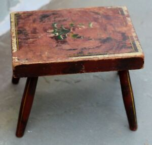Antique Vintage Primitive Farmhouse Wooden Footstool Painted Rustic Shabby