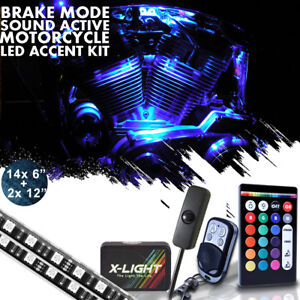 16pc Motorcycle Led Under Glow Light Kit 18 colors Neon Strip 2 Remote Control