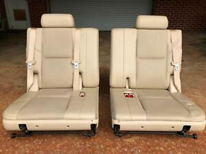 07 08 Cadillac Escalade Rear Third 3rd Row Leather Seat Set Cashmere Oem
