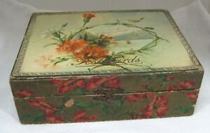 Antique Post Card Postcard Box Holder Celluloid Top Floral W Ship