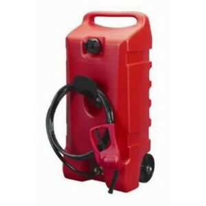Duramax Flo N Go Le Fluid Transfer Pump And 14 gallon Rolling Gas Can New