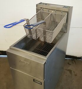 Anets Fryer Commercial 40 Lb Floor Gas Deep Natural Gas Used Tested New Baskets