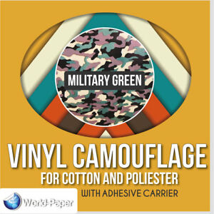 Heat Transfer Vinyl Camouflage Military Green 19 5 X 2 Yards Htv