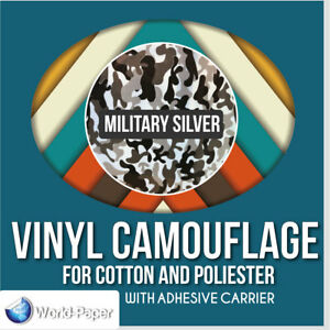 Heat Transfer Vinyl Camouflage Military Silver 19 5 X 2 Yards Htv