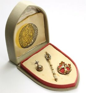 Vtg Soluna Prague Czech 900 Silver Royal Crown Jewels Scepter Miniature Set New