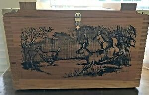 Wooden Ammo Box. THE CLASSIC BY EVANS.  Deer Theme Approx 16L x 9W x 10H