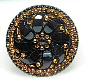 Large Antique Victorian Gold Luster Glass Button Pinwheel Flower Dazzling L2