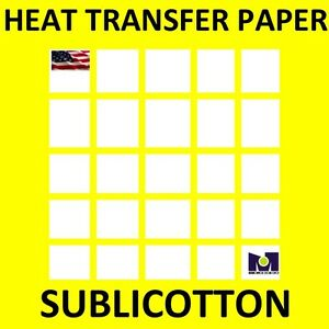 Sublicotton Heat Transfer Paper 8 5x11 50 Sh For Dye Sublimation Ink To Cotton