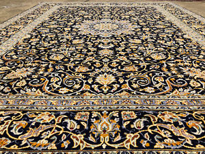 10x13 Hand Knotted Blue Persian Rug Iran Handmade Wool Rugs Antique Woven 10x14