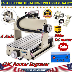 4 Axis Cnc Router Engraver 3d Engraving Drilling Milling Machine 300w 3020 Tools