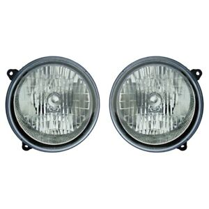 Fits 2003 2004 Jeep Liberty Pair Head Lights Driver And Rh Bulbs Incl