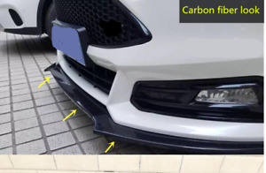 Carbon Fiber Look Front Bumper Lip Protector Cover 3pc For Ford Focus Rs S 16 18