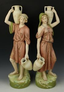 Large 18 Royal Dux Figurines Boy And Girl With Jugs Worldwide
