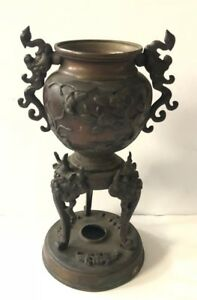 Beautiful Bronze Japanese Koro Incense Burner Oni Legs And Phoenix Handles
