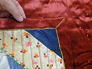 Antique Vintage Silk Crazy Quilt Embroidery Tufting